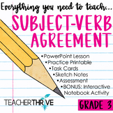 Third Grade Grammar and Language Unit on Subject-Verb Agreement