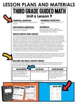 Guided Math Third Grade Unit 6: Measurement, Perimeter, Area, and Elapsed Time