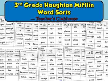 Third Grade HM Word Sorts