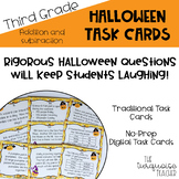 3rd Grade Halloween Addition Subtraction Math Task Cards Digital No Prep