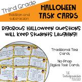 3rd Grade Halloween Addition Subtraction Math Task Cards D