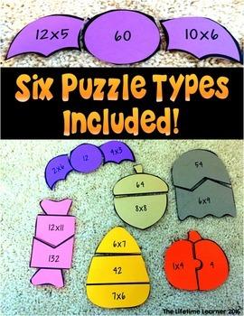 Halloween Multiplication Fact Math Puzzles
