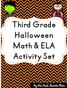 Third Grade Halloween Math & ELA Activity Set *NO PREP*