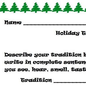 Third Grade Holiday Tradition Writing
