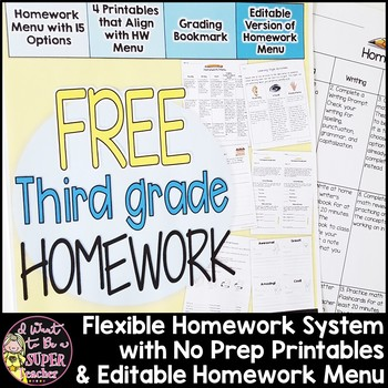 Third Grade Homework Freebie {4 NO PREP Printables & Editable Homework Menu}