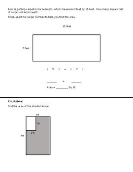Third Grade Homework for Finding Area