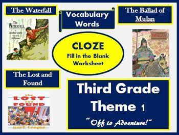 Houghton Mifflin Third Grade Theme 1 Cloze Worksheets