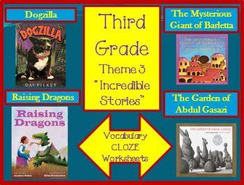 Houghton Mifflin Third Grade Theme 3 Cloze Worksheets