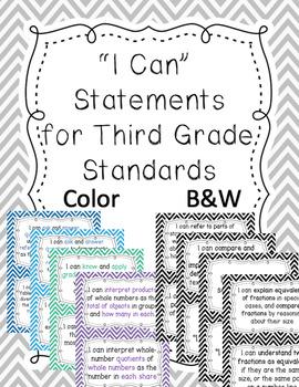 "Third Grade ""I Can"" Statements ELA {Chevron}"