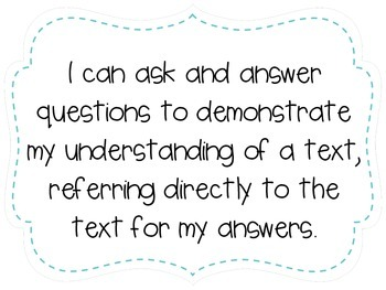"""Third Grade """"I Can"""" Statements LAFS & Common Core Reading Plain"""