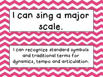 Third Grade I Can Statements (NC Music) - Pink Chevron