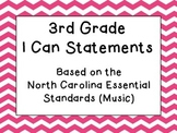 Third Grade I Can Statements (NC Music) - Pink Chevron