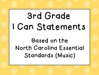Third Grade I Can Statements (NC Music) - Shades of Orange Dots