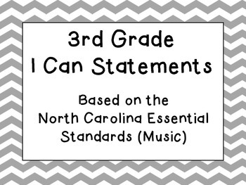 Third Grade I Can Statements (NC Music) - Slate Chevron
