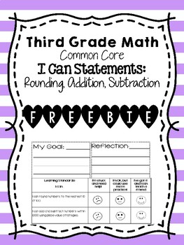 Third Grade Addition, Subtraction, Rounding I Can, Goal-Setting, Self-evaluation