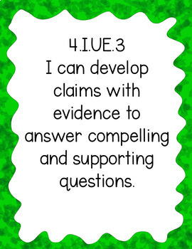 """Fourth Grade """"I Can"""" Statements for KY NEW Revised Social Studies Standards"""
