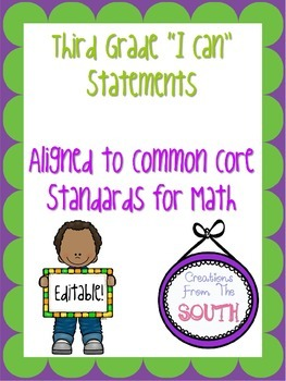 """Third Grade """"I Can"""" Statements for Math EDITABLE!"""