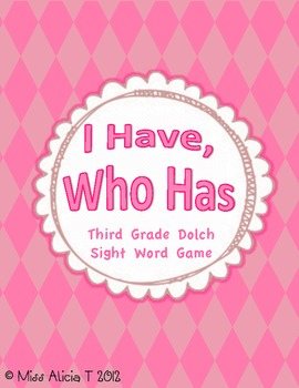Third Grade I Have, Who Has Sight Word Game