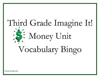 Third Grade Imagine It! Money Unit Vocabulary Bingo