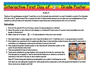 Third Grade Interactive First Day of School Poster!