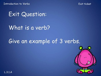 Third Grade Introduction to Verbs