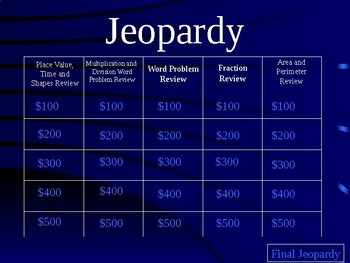 Third Grade Jeopardy EOG Review