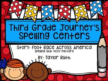 Third Grade Journey's Spelling Centers & Activities (Foot Race Across America)