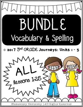 Third Grade, Units 1-5, Journeys 2017 Vocabulary and Spelling BUNDLE
