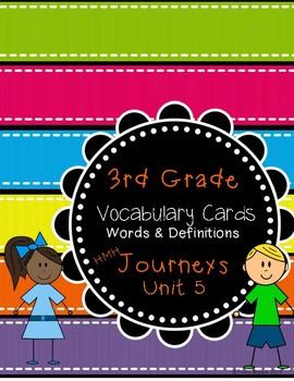 Third Grade Journeys ELA Unit Five Vocabulary Cards