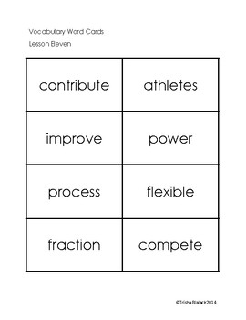 Third Grade Journeys ELA Unit Three Vocabulary Cards