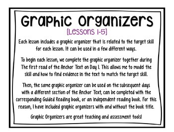 Third Grade Journeys Lessons 1-5 Graphic Organizers + Write About Reading