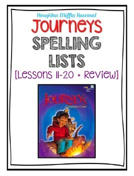 Third Grade Journeys Lessons 11-20 [+ Bonus Review] Weekly Spelling Assessments
