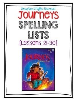 Third Grade Journeys - Lessons 21-30 Weekly Spelling Assessments