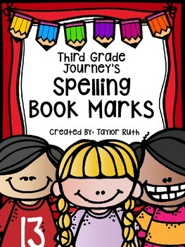 Third Grade Journey's Spelling Bookmarks: 30 Spelling Lists
