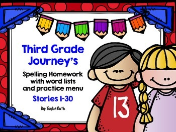 Third Grade Journey's Spelling Homework with Word List and Practice Menu
