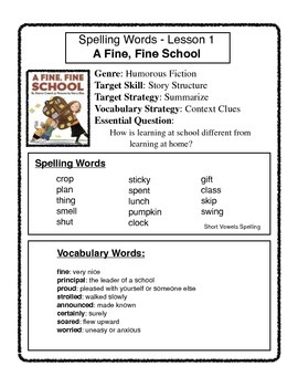 Third Grade Journeys Spelling and Vocabulary Sheets