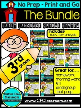 Third Grade LANGUAGE Homework /Morning Work 10 Month BUNDLE!