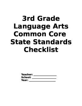 Third Grade Language Arts Common Core Checklist