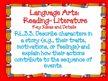 Third Grade Language Arts Common Core Standards with pencils