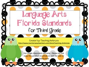 Third Grade Language Arts FL Standards Checklist Eagle by Teaching Ambrosia