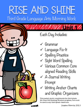 Third Grade Language Arts Morning Work Unit 1