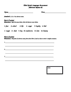 Third Grade Language Assessment (Abstract Nouns)