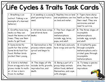 Life Cycles and Traits Task Cards