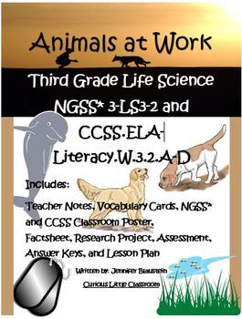 Third Grade Life Science and ELA Writing- Animals at Work