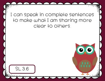 "Third Grade Listening & Speaking CCSS ""I Can"" Posters {Owl Theme}"