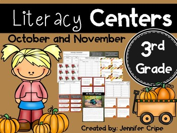 Third Grade Literacy Centers for October and November