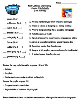 """Third Grade """"Many Cultures, One Country"""" Common Core Study Guide"""