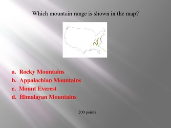 Third Grade Map Skills Jeopardy