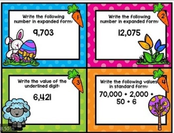 Third Grade March Spiral Task Cards