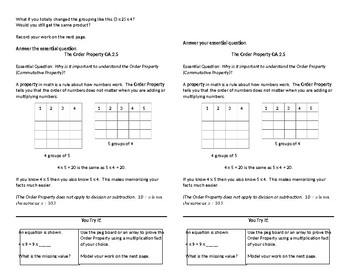Operations and Algebraic Thinking Math Anchor Charts for Student Journals
